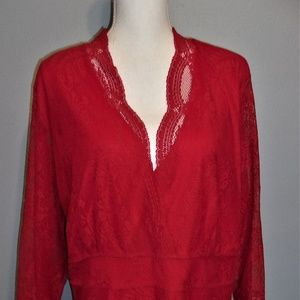 Lane Bryant 3X Red Lace Top